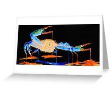 Blue Crab On Black Greeting Card