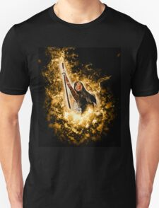 Avenging angle with a flaming sword rising from flames  T-Shirt