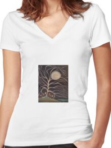 Moonlight Blossoms Women's Fitted V-Neck T-Shirt