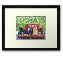 Antique Fire Truck with Dogs Framed Print