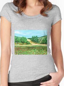 Poppy field Women's Fitted Scoop T-Shirt