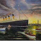RMS Titanic entering New York Harbor 1912 by Woodie