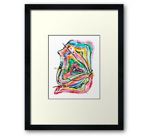Unknown Butterfly - Small Abstract Landscape, watercolor, ink & pencil on paper Framed Print