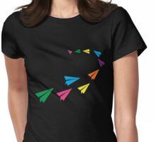 Colourful Paper Plane Womens Fitted T-Shirt