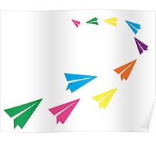 Colourful Paper Plane Poster