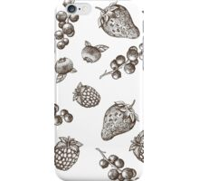 Sweet hand drawing vector seamless pattern. Berry sketch illustration iPhone Case/Skin