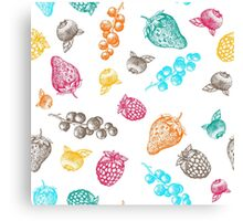 Sweet hand drawing vector seamless pattern. Berry sketch illustration Canvas Print