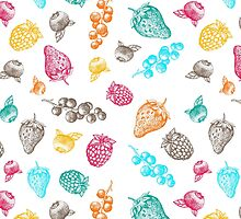 Sweet hand drawing vector seamless pattern. Berry sketch illustration by julkapulka