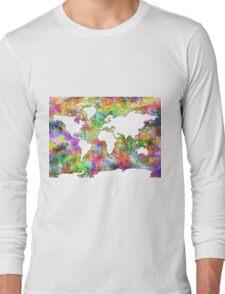 World Map watercolor 6 Long Sleeve T-Shirt