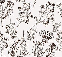 Medicine herb vector seamless nature pattern. Hand drawing sketch illustration by julkapulka