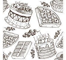 Vectorhand drawing dessert bakery illustration. Sweet food sketch seamless pattern Photographic Print