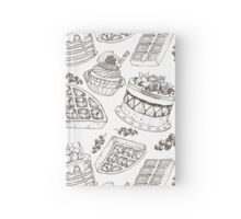 Vectorhand drawing dessert bakery illustration. Sweet food sketch seamless pattern Hardcover Journal