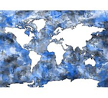 world map watercolor 7 Photographic Print