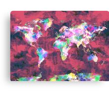 world map watercolor 8 Canvas Print