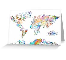 world map collage 4 Greeting Card