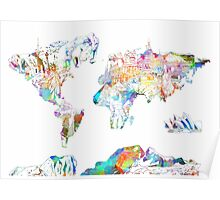 world map collage 4 Poster