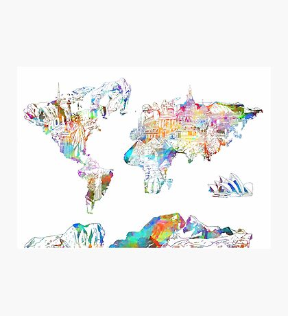 world map collage 4 Photographic Print