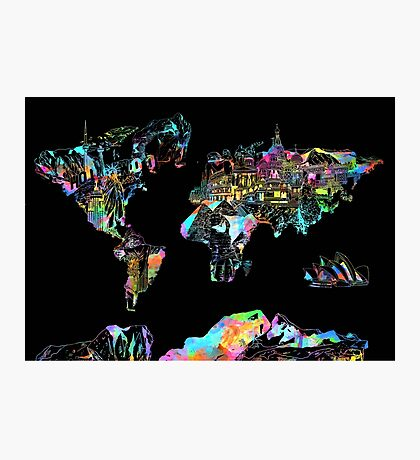 world map collage 5 Photographic Print