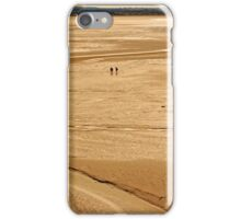 Two Tourists at Sunset in the Bay of Mont St Michel at Low Tide  iPhone Case/Skin