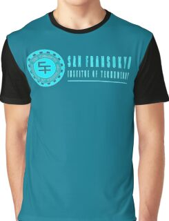 San Fransokyo institute of technology blue neon logo white outline, blue fill Graphic T-Shirt