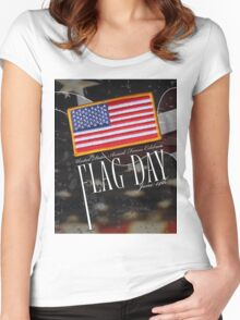 US Military Official Flag Day Poster Women's Fitted Scoop T-Shirt