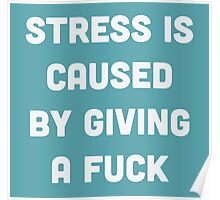 Stress is caused by giving a fuck Poster