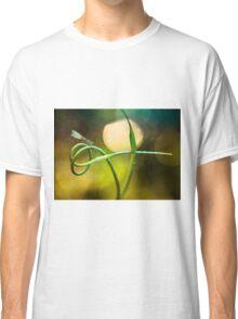 Blue Dragonfly sitting on garlic plant Classic T-Shirt