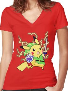 Pokemon Zelda Women's Fitted V-Neck T-Shirt