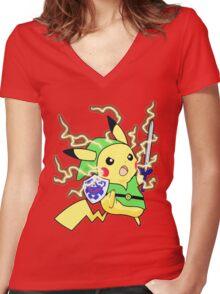 Pokemon Zelda Women's Fitted V-Neck T-Shirt