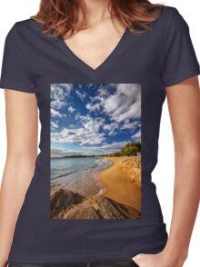 Sandy beach of Logaras in Paros island Women's Fitted V-Neck T-Shirt