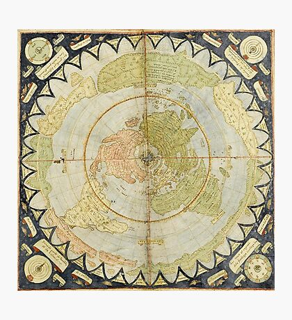Flat Earth old map Photographic Print