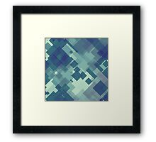 Abstract blue and green blocky pattern Framed Print