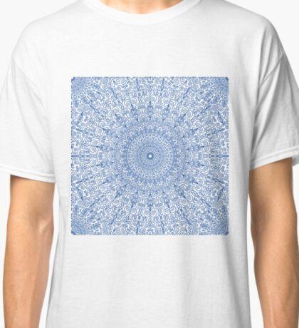 Navy Blue Floral Mandala Seamless Pattern Classic T-Shirt
