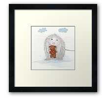 White Mouse With A Teddy Bear Framed Print
