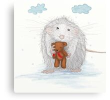 White Mouse With A Teddy Bear Canvas Print