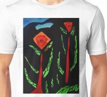 Fleurs abstraites avec des oiseaux Unisex T-Shirt