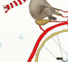 Koala Bear Riding Red Bike In Winter Sticker