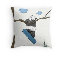 Snowboarding Panda Hanging From A Tree Branch Throw Pillow