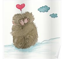 Hugging Snow Monkeys With a Heart Shape Balloon Poster