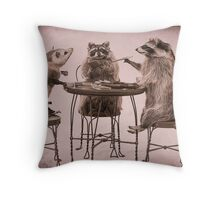Two raccoons and opossum playing poker Throw Pillow