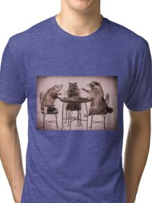 Two raccoons and opossum playing poker Tri-blend T-Shirt