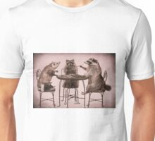 Two raccoons and opossum playing poker Unisex T-Shirt