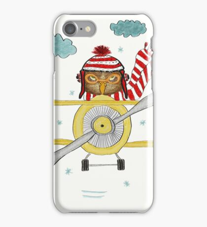 Crazy Owl Piloting Yellow Plane in Snow Storm iPhone Case/Skin