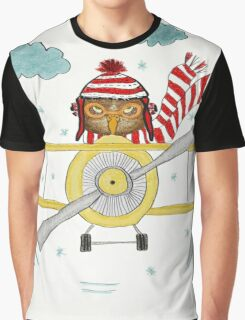 Crazy Owl Piloting Yellow Plane in Snow Storm Graphic T-Shirt