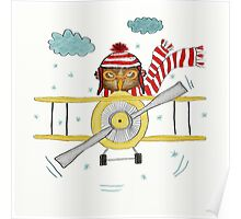 Crazy Owl Piloting Yellow Plane in Snow Storm Poster
