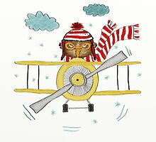Crazy Owl Piloting Yellow Plane in Snow Storm by Lucie Rovná