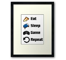 Eat, Sleep, Game, Repeat! 8bit Framed Print