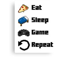 Eat, Sleep, Game, Repeat! 8bit Canvas Print