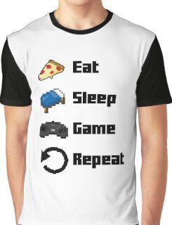 Eat, Sleep, Game, Repeat! 8bit Graphic T-Shirt