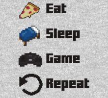 Eat, Sleep, Game, Repeat! 8bit One Piece - Long Sleeve